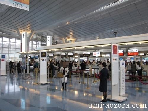 羽田国際線JALチェックインカウンター