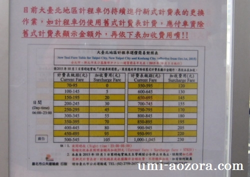 タクシー追加料金表