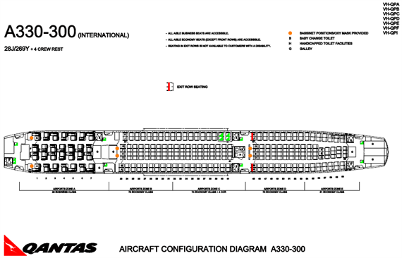 カンタス航空 330-300 シートマップ
