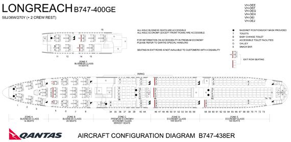 カンタス航空 747-400 シートマップ