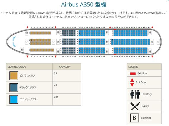 A350-900型機のシートマップ