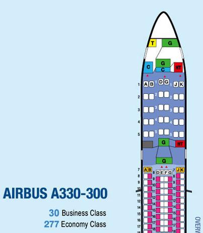 チャイナエアライン330-300型機シートマップ01
