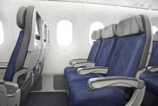 アメリカン航空エコノミークラスシート